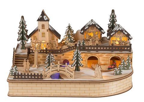Weihnachtsstadt mit fahrendem Zug