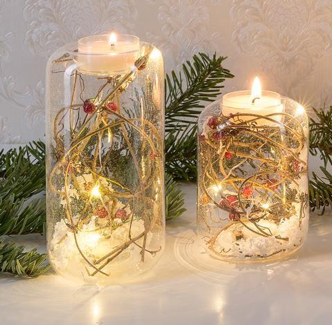 Beleuchteter Glas-Teelichthalter, 2 er Set