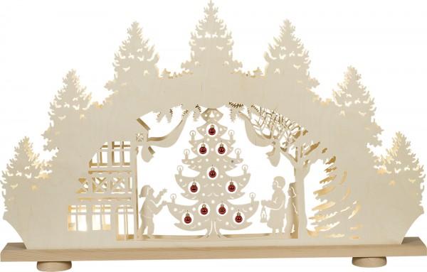 """XXL- Schwibbogen 3D-LED ''Weihnachtsbaum"""" mit roten Glaskugeln'' 9-flammig"""