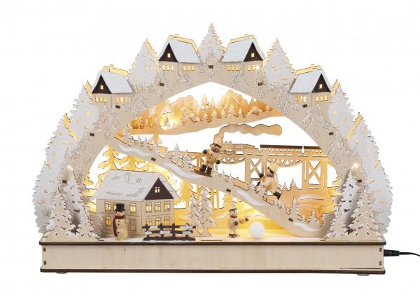 3 D Lichterbogen mit Eisenbahn und Skihang   Weihnachtskaufmarkt